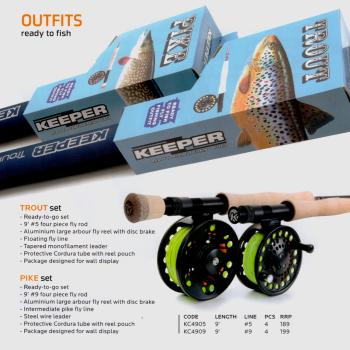 KEEPER Trout- oder Pike-Fliegenfischer-Set + Gratisfliegen mit Box