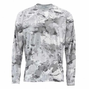 Simms Sflex Crewneck Cloud Camo Grey