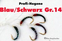 Profi-Hegene Blau/Schwarz auf Hakengröße 14
