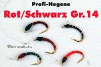 Profi-Hegene Rot/Schwarz auf Hakengröße 14
