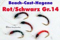 Extreme-Beach-Cast-Hegene Rot/Schwarz auf Hakengröße 14