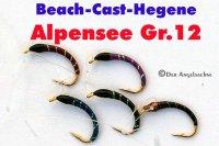 Extreme-Beach-Cast-Hegene Rot/Schwarz auf Hakengröße 12