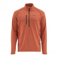 Simms Fleece Midlayer Top Pullover in Simms Orange