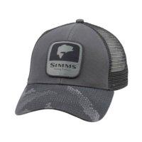Simms Bass Patch Trucker Hex Camo Carbon Schirmmütze